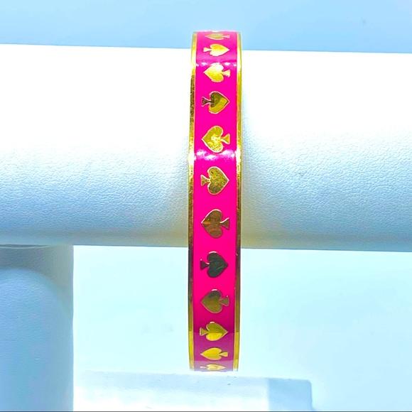 Kate Spade Pink and Gold Spade Bangle Bracelet